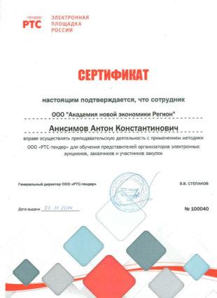 Сертификат Анисимов Антон Константинович РТС-тендер