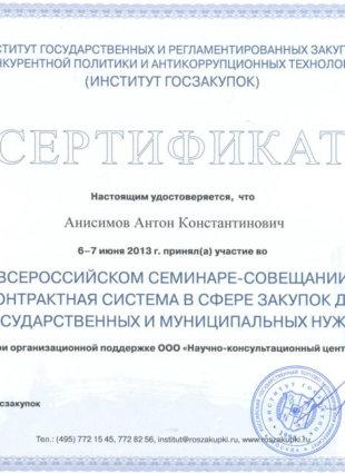 Сертификат Анисимов Антон Константинович 44-ФЗ Институт закупок