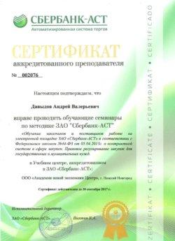 Сертификат Давыдов Андрей Валерьевич Сбербанк-АСТ 44 ФЗ