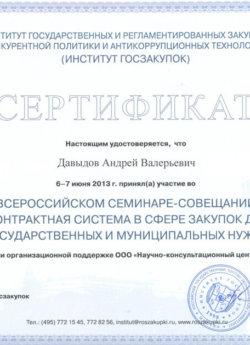 Сертификат Давыдов Андрей Валерьевич институт госзакупок