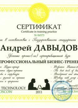 Сертификат Давыдов Андрей Валерьевич Бизнес Тренер