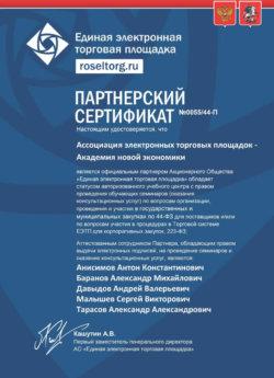 Сертификат Давыдов Андрей Валерьевич Roseltorg.ru росельторг