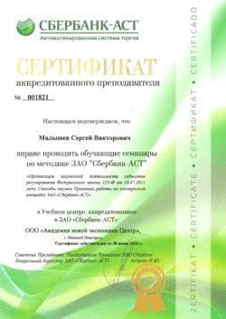 Сертификат Малышев Сергей Викторович Сбербанк-АСТ 223-ФЗ