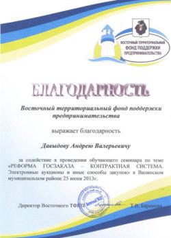 Благодарственное письмо Восточный территориальный фонд поддержки предпринимательства Давыдову Андрею Валерьевичу