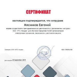 Мясников Евгений Александрович сертификат РТС Тендер